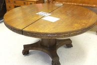 60 inch Round Oak Table with Lions Paw Feet